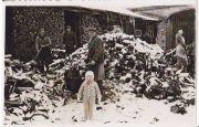 3-letá Erna a čeleďíni při štípání dříví z roku 1937